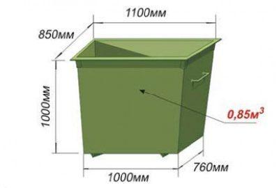 Контейнер металлический 0,85 м3 (евроформа)