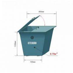 Контейнер металлический 0,75м3 для раздельного сбора мусора